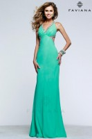 Faviana 7516 V Neck Chiffon Evening Dress image