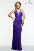 Faviana 7519 Shirred Chiffon Evening Dress image