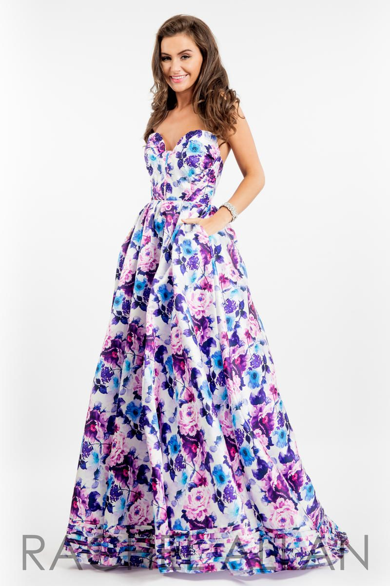 Rachel Allan 7527 Floral Print Gown With Pockets French
