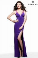 Faviana 7542 V Neck Jersey Gown with Slit image