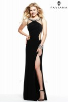 Faviana 7544 Scoop Neck Illusion Gown image