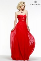Faviana 7551 Chiffon Gown with Lace image