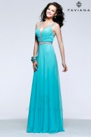 Faviana 7552 V Neck Chiffon Gown image