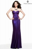 Faviana 7563 Glitter Jersey Gown with Cutouts image