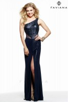 Faviana 7564 One Shoulder Glitter Sequin Gown image