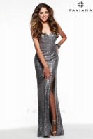 Faviana 7579 Sequin Gown with Slit image