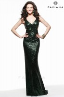 Faviana 7581 V Neck Cutout Sequin Gown image