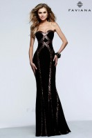 Faviana 7582 Jersey Gown with Sequin Trim image