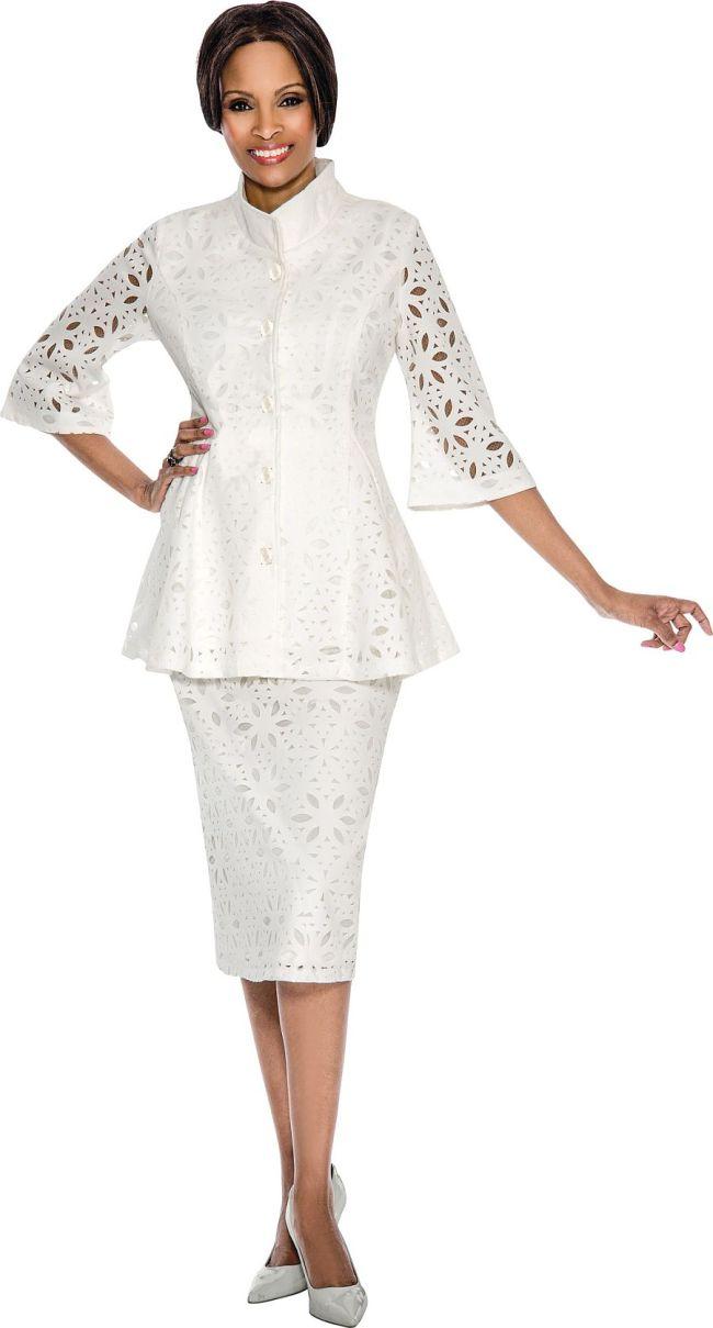 Size 14 Off White Terramina 7583 Womens Cutout Church Suit