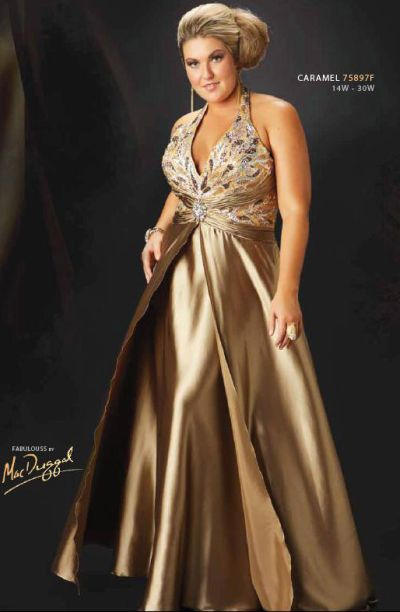 Gold plus size dresses for cheap