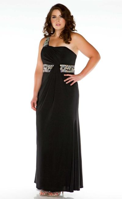 Fabulouss 75910f By Macduggal Plus Size Jersey One Shoulder Gown