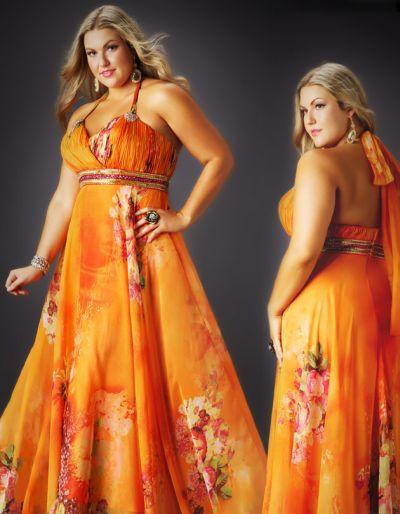 c443af3333f Cassandra Stone II Plus Size Orange Floral Print Prom Dress 75949K  French  Novelty
