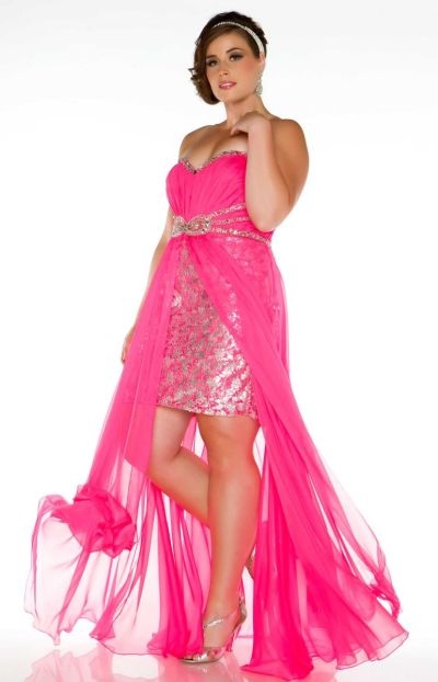 Fabulouss Hot Pink Plus Size Prom Dress by MacDuggal 76288F