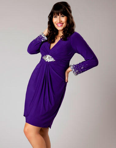 Mac Duggal Plus Size Long Sleeve Cocktail Dress 76399F: French Novelty