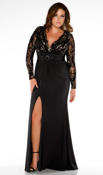 Fabulouss 76457f Plus Size Illusion Long Sleeve Evening Dress