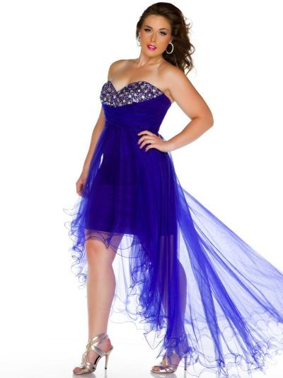 Cassandra Stone II 76467K Plus Size High Low Dress: French Novelty