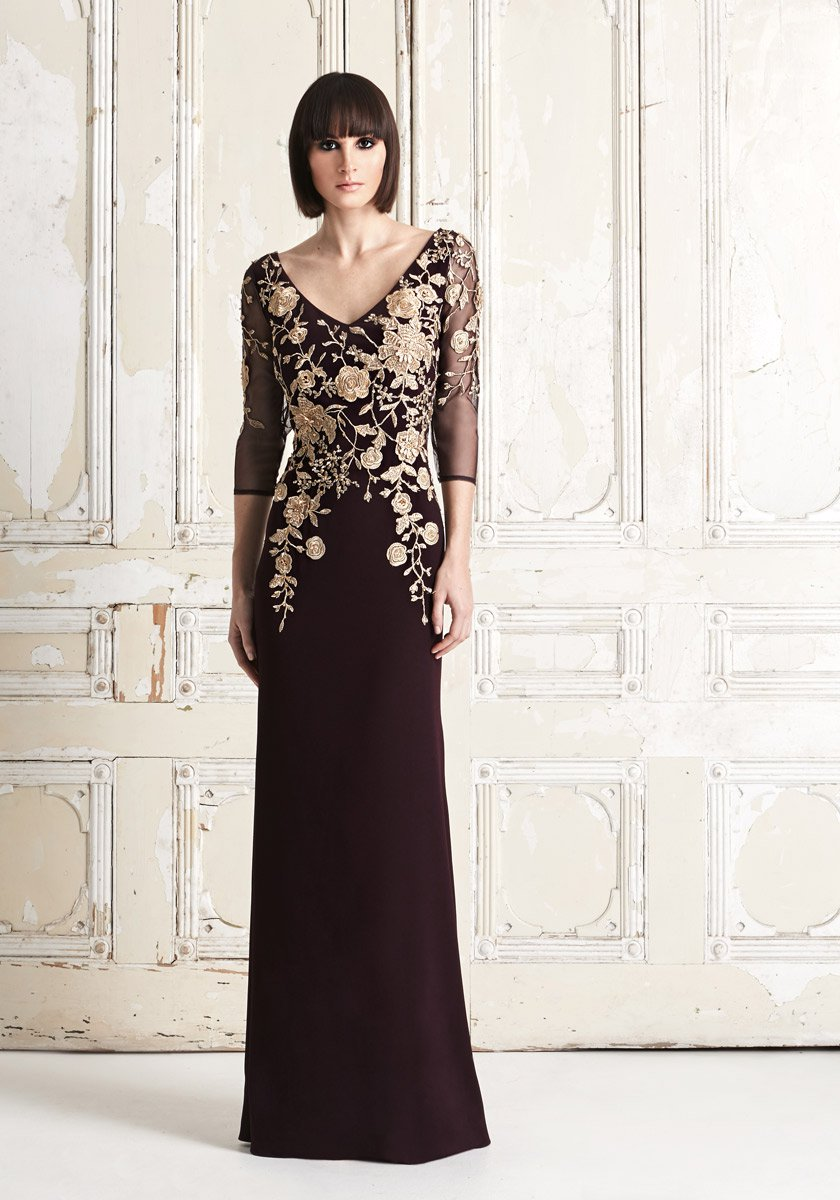 Daymor 765 Metallic Floral Embroidered MOB Gown: French