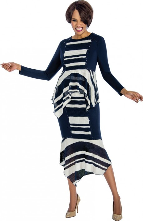 ab9b5f4313 Terramina 7661 Striped 2 Piece Church Dress  French Novelty