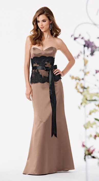 Size 8 Sable Black Jordan 767 Lace And Satin Bridesmaid Dress