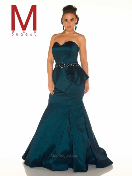 Mac Duggal Fabulouss 76761F Plus Size Peplum Gown