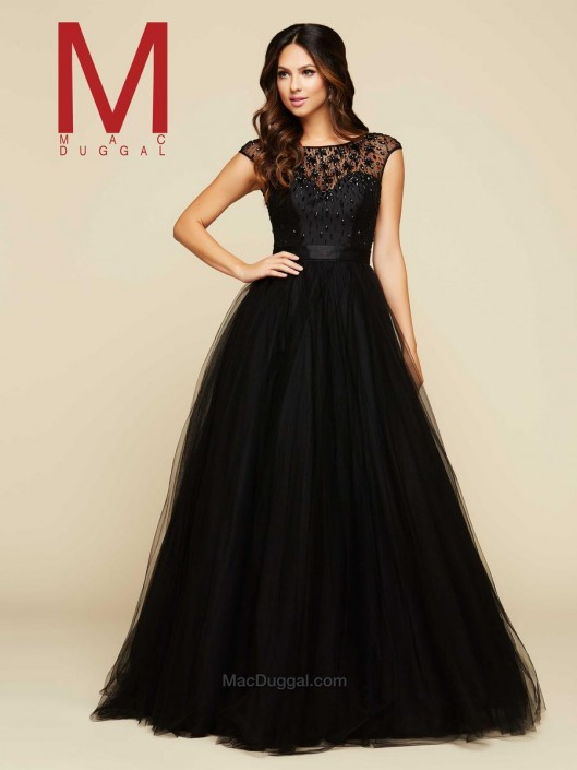Mac Duggal 76956H Flowing Ball Gown: French Novelty