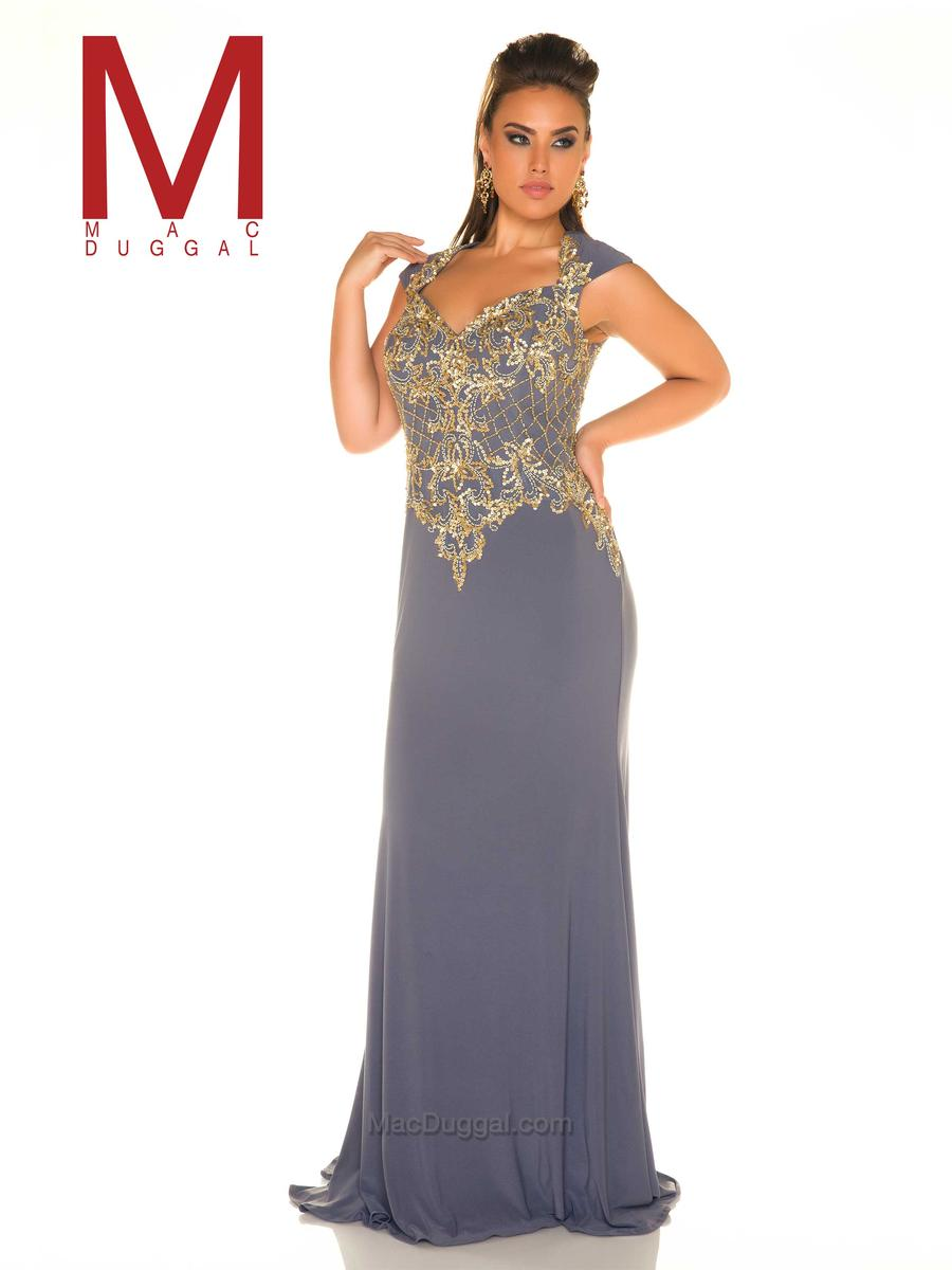 Mac Duggal Fabulouss 77001f Plus Size Multi Beaded Gown French Novelty
