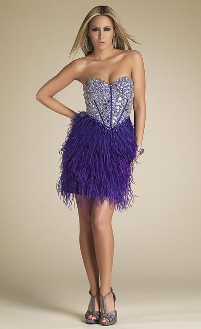 Dave and Johnny Purple Homecoming Dress 7720: French Novelty