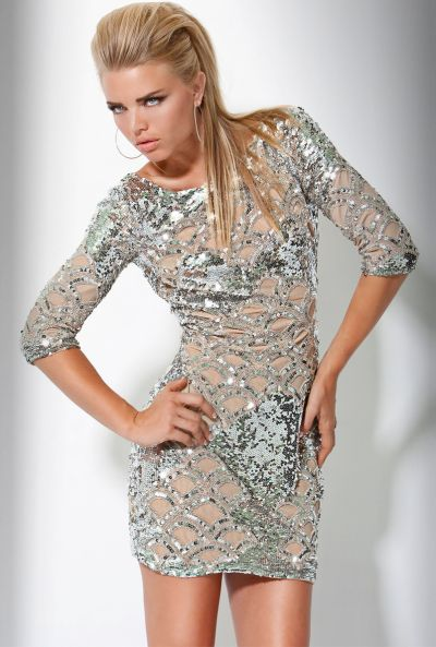 Jovani Silver Sequin Illusion Long Sleeve Short Cocktail Dress ...