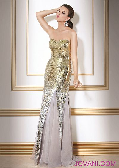Jovani Evening Gold Silver Formal Dress 7750: French Novelty