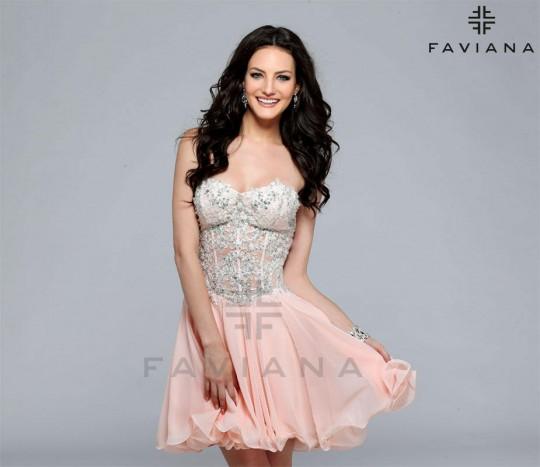 Faviana 7817 Chiffon Short Prom Dress: French Novelty