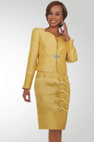 Stacy Adams Womens Gold 2pc Church Suit 78175 by BenMarc: French ...