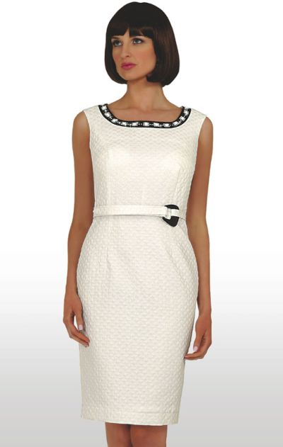bb7a0c64b73 Stacy Adams Womens Sleeveless Off White Church Dress 78187  French .