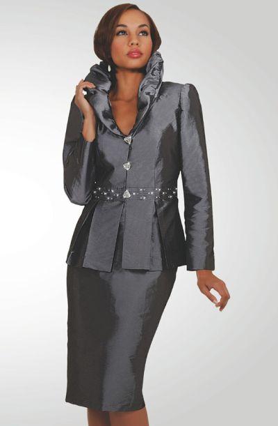 Stacy Adams Womens Grey Shantung Church Suit 78201 by BenMarc