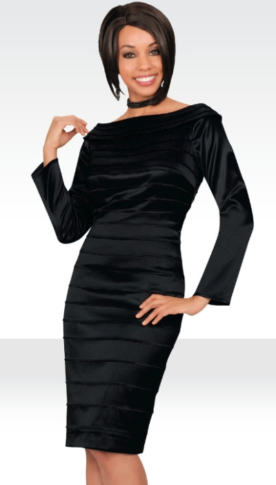 45f8e653a9c Stacy Adams Womens Black Satin Cocktail Dress 78213 by BenMarc  French  Novelty