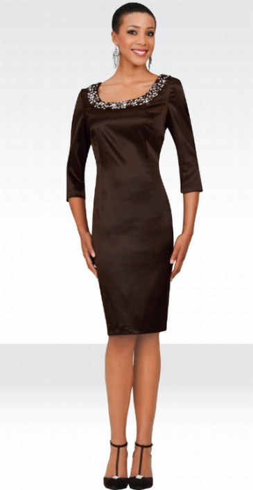3813f267cfb Stacy Adams Womens Brown Satin Cocktail Dress 78219 by BenMarc  French  Novelty