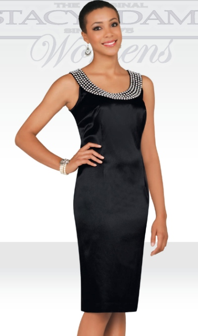6d0a6ac6a87 Stacy Adams Womens Black Beaded Satin Cocktail Dress 78239 by BenMarc  French  Novelty
