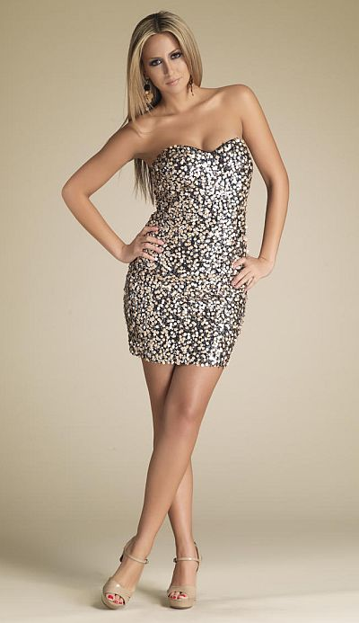Dave and Johnny Gold and Black Cocktail Dress 7829: French Novelty