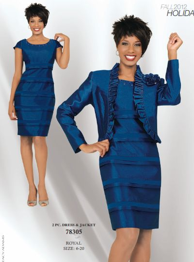 Stacy Adams Womens Royal Blue Jacket Dress 78305 French