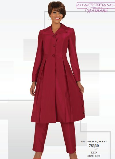 Stacy Adams Womens Pant Suit with Long Jacket 78330: French Novelty
