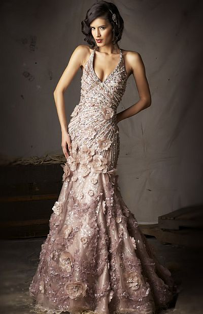 Macduggal Couture Halter Mermaid Evening Dress 78451d