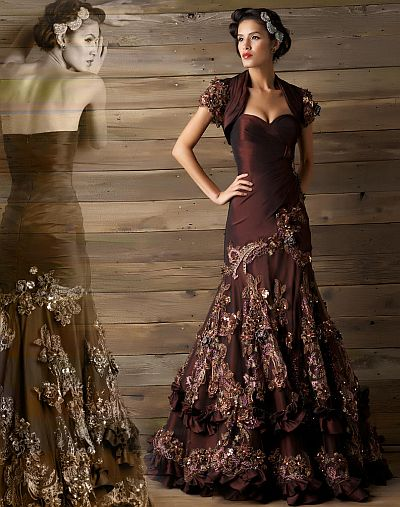 Macduggal couture bodacious bouquet evening dress 78505d for French couture dresses