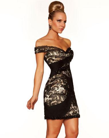 Black Cocktail Dress on Mac Duggal Black   White Off The Shoulder Cocktail Dress 78583r Image
