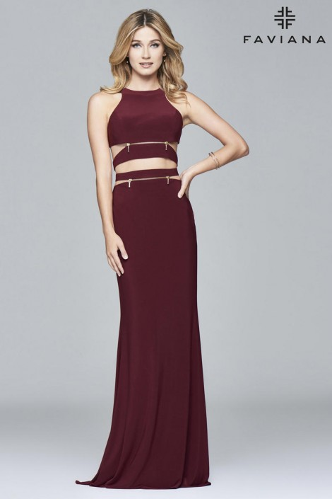 Faviana 7957 Modern and Edgy Cutout Gown: French Novelty
