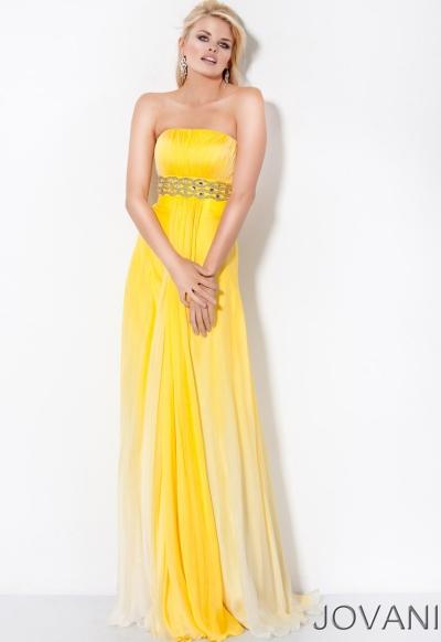 Jovani Long Beaded Empire Waist Prom Dress 7982: French Novelty
