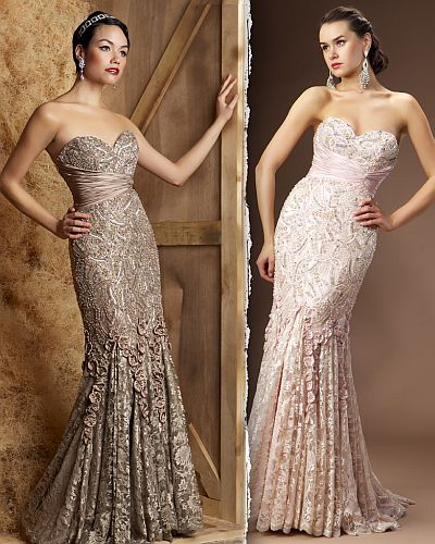 MacDuggal Couture Exquisite Lace Evening Dress 80056D: French Novelty