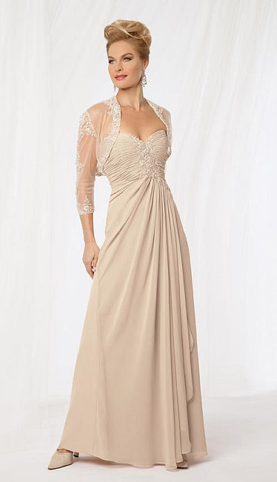 Caterina 8018 Evening Dress with Sheer Jacket: French Novelty