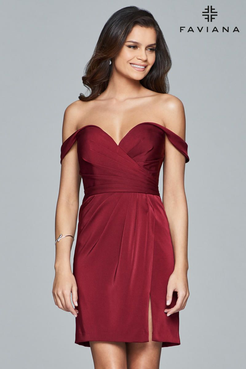 Faviana 8050 Off Shoulder Draped Cocktail Dress: French ... - photo #31