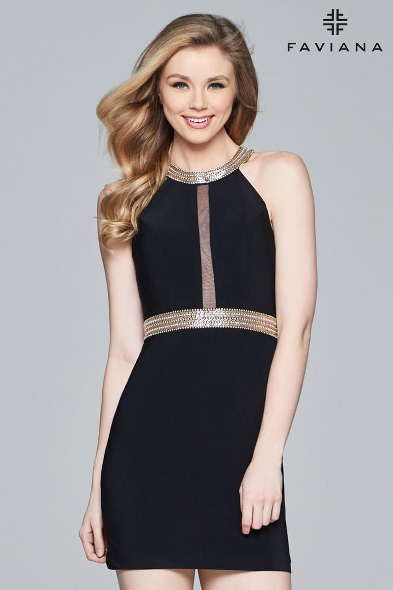 Long Stretch Jersey Evening Dress With Side Beading