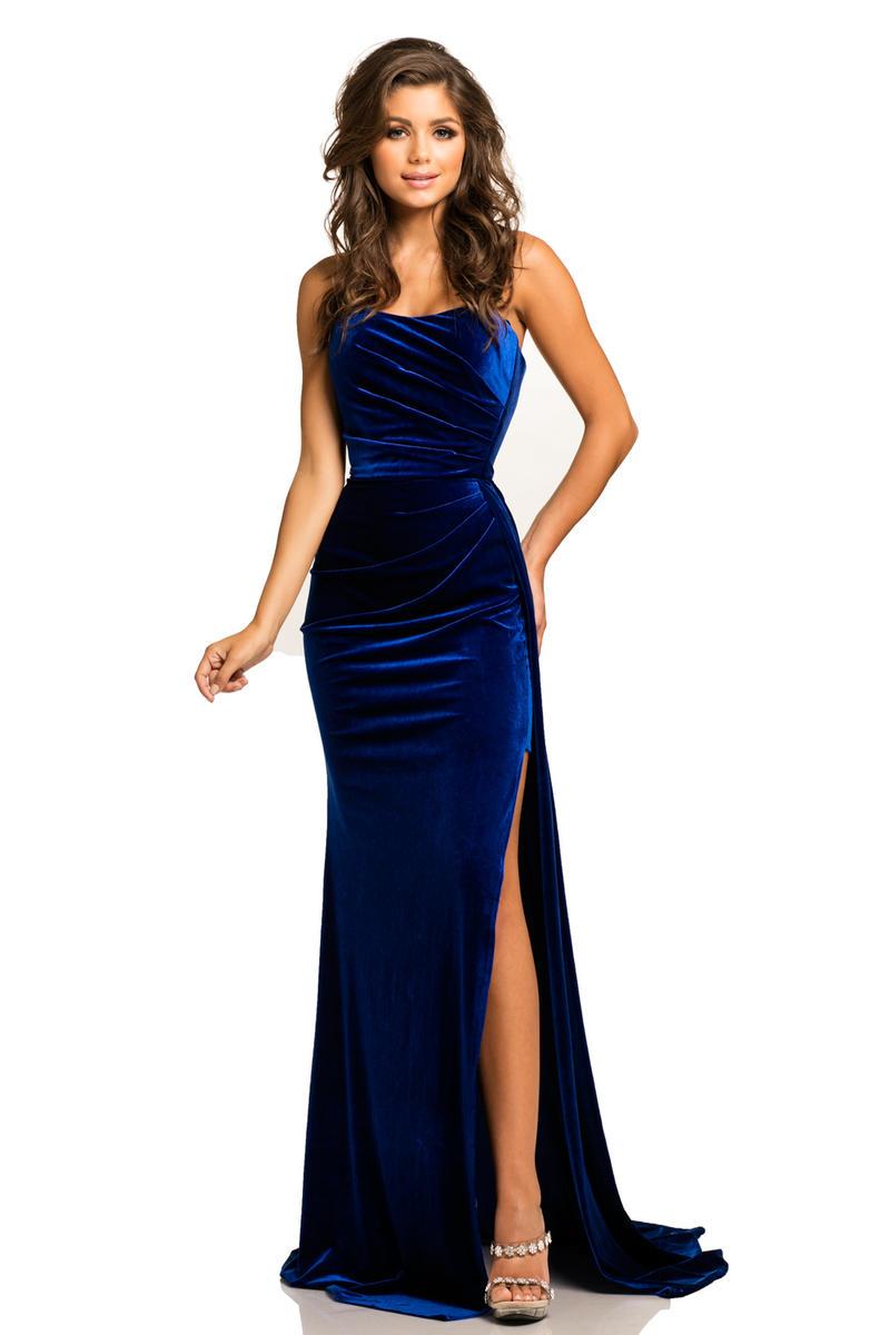 Johnathan Kayne 8087 Strapless Stretch Velvet Gown French