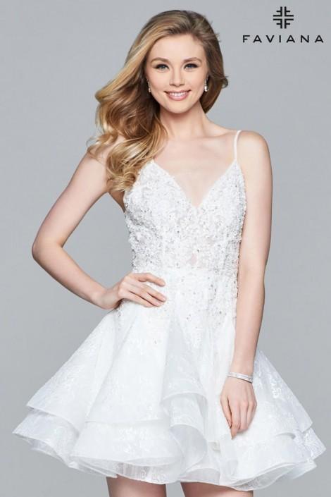 e0dfbfdc79a3 Faviana 8091 Lace Short Bridal Shower Dress: French Novelty